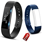 JIUXI Fitness Tracker Pedometer Activity Tracker Watch Waterproof IP67 Smart Bracelet Man Woman Bluetooth Touch Screen with Calorie Counter/Sleep Monitor/Camera Remote Control for Android and iOS