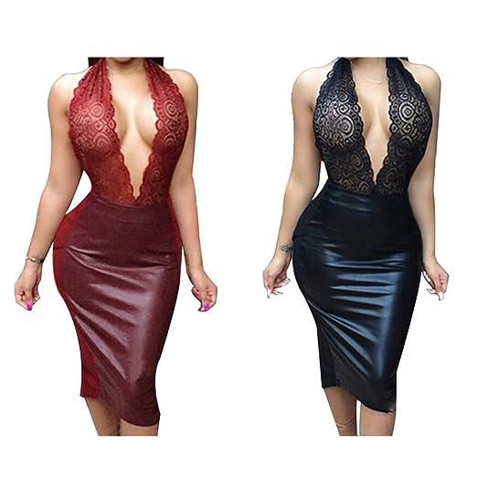 7fd35b39a26 Amazon.com  Sexy Deep V-neck Backless Bodycon Club Dress (L)  Clothing