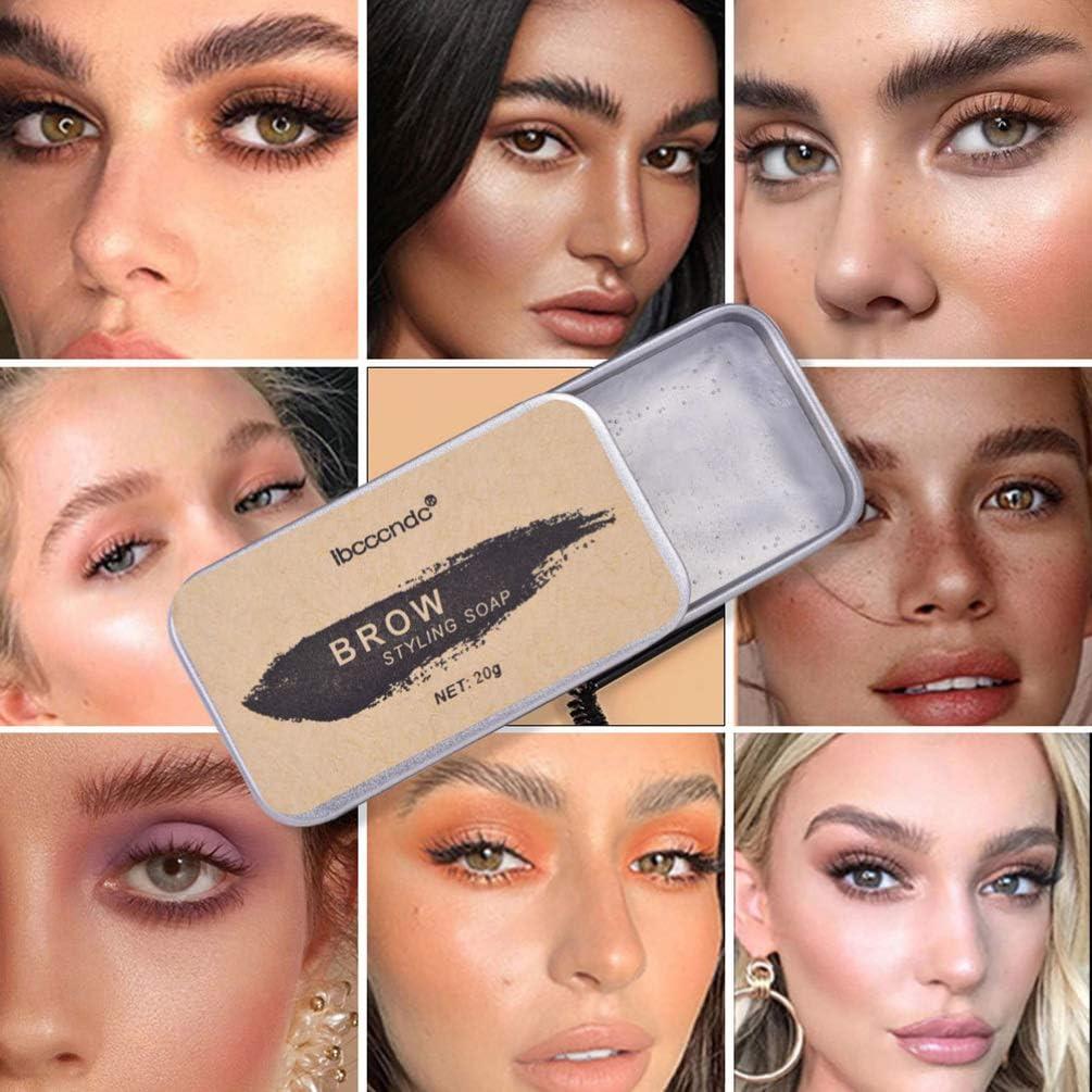 Lurrose Kit de Jabón para Cejas Jabón para Peinar Cejas Pomada de Cejas Resistente Al Agua de Larga Duración Bálsamo de Maquillaje para Cejas con ...