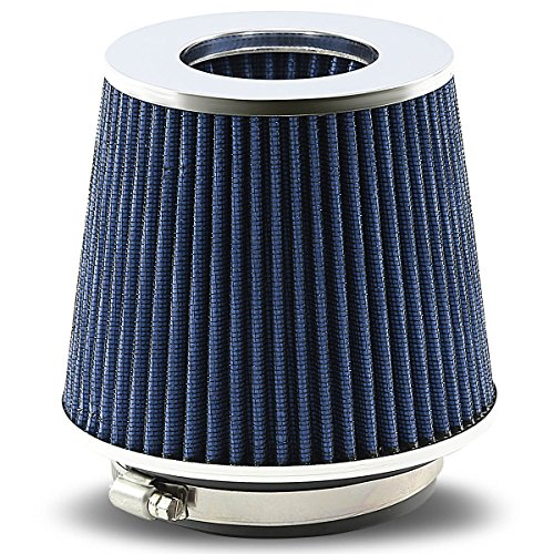 Universal Clamp-On Cotton Gauze Round Air Intake Filter+Reducer Hose for 3-4