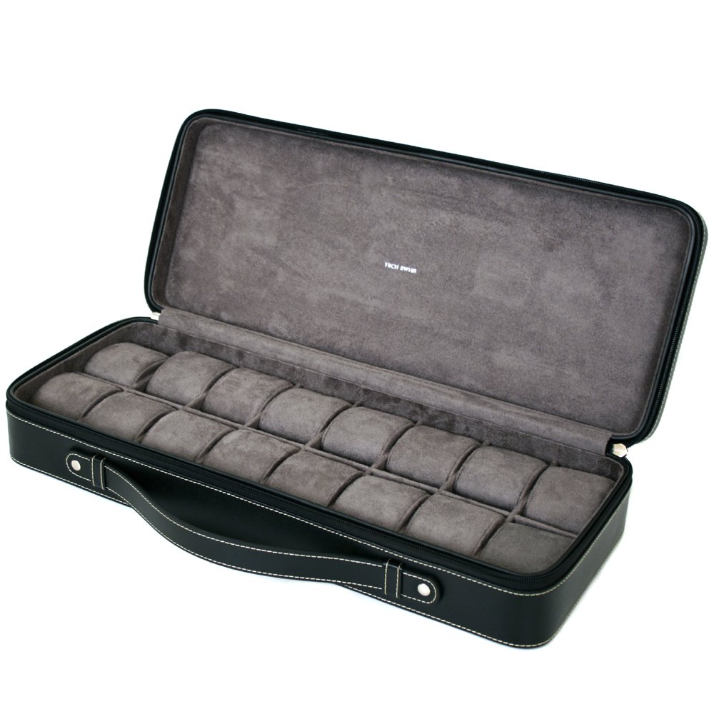 16 Watch Case for Collectors Travel Style Briefcase Black Leather Large Compartments Zipper