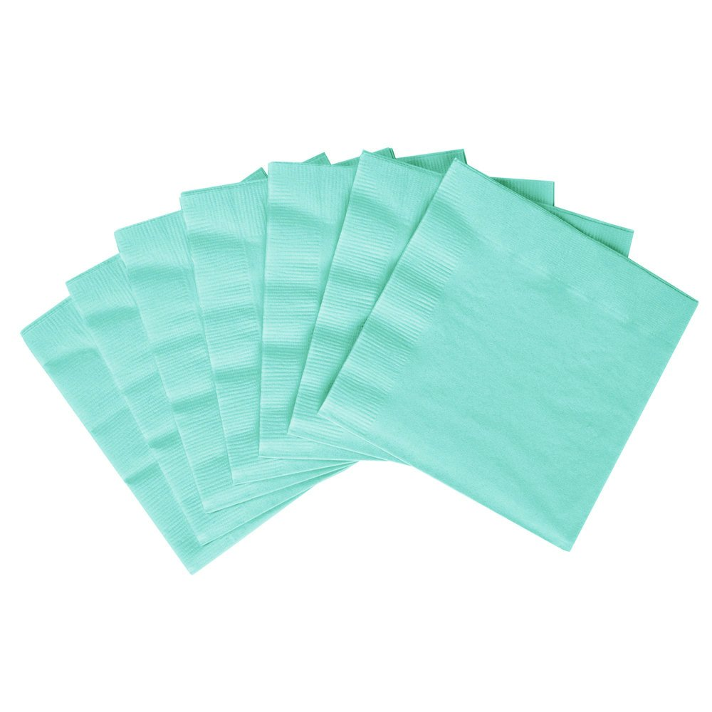 Amscan Durable Plain 2-Ply Beverage Napkins Party Tableware (50 Pack), 5'' x 5'', Robin's-Egg Blue