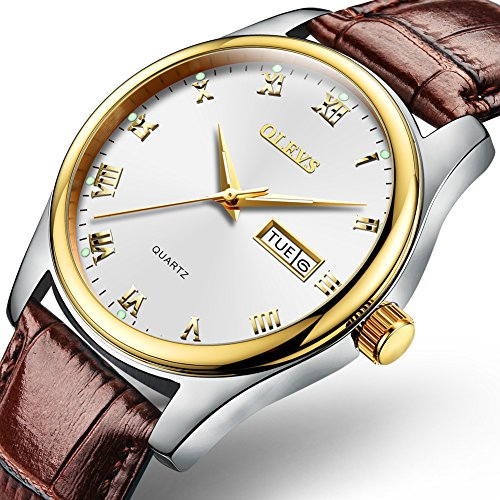 Watches for Men,Men's Business Dress Watch OLEVS Roman Number Analog Watch Waterproof Luminous with Day Date Brown Genuine Leather Watch Band Casual Luxury Brand Wirst Watches Gold Silver Dial - Numbers Brown Leather Band