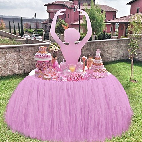 Fuloon Handmade Tutu Table Skirts Table Cloth Cove Tulle Queen Snowflake Wonderland for Girl Princess Party Baby Shower Wedding Birthday Parties Decor…
