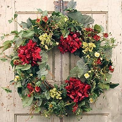 Decorative Burgundy Silk Seasonal Front Door Wreath 22 in - Best Seller - Handcrafted Wreath for Outdoor Display in Fall, Winter, Spring, and Summer