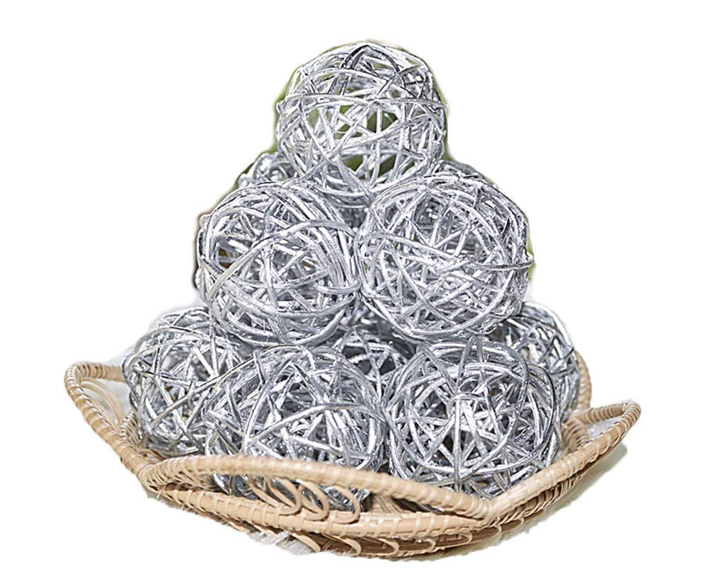Christmas Gifts : Small Silver Rattan Ball, Wicker Balls, DIY Vase And Bowl Filler Ornament, Decorative spheres balls, Perfect For Decoration And Party 2.5 inch, 12 Pcs (Free Gift From Conserve Brand) by Conserve's Rattan Ball