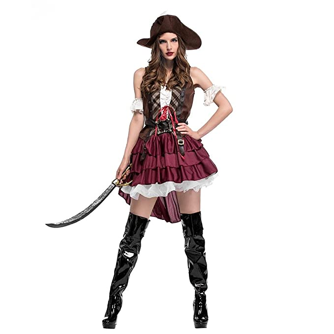 Leo565Tom Halloween Costume Cosplay Femme Déguisement Pirates Costume Fancy  Dress Costume pour Adulte Cosplay d\u0027halloween Carnaval Ou Soirées à Theme