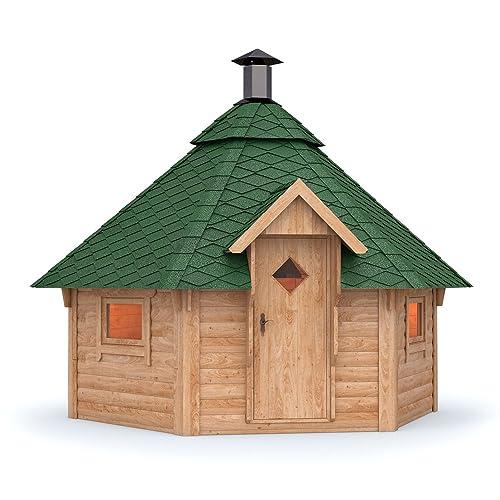 Grillkota Pavillon Dacheindeckung wählbar inkl Grillanlage ca 9m Grüne Schindel