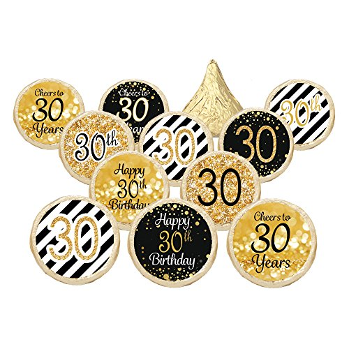 [30th Birthday Party Decorations - Gold & Black - Stickers for Hershey Kisses (Set of 324)] (Decoration Ideas Party)
