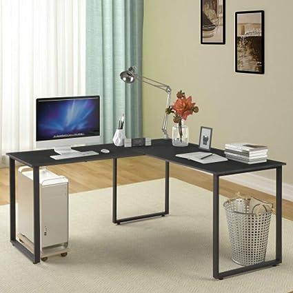 Escritorio en forma de L con patas de metal, escritorio esquinero ...