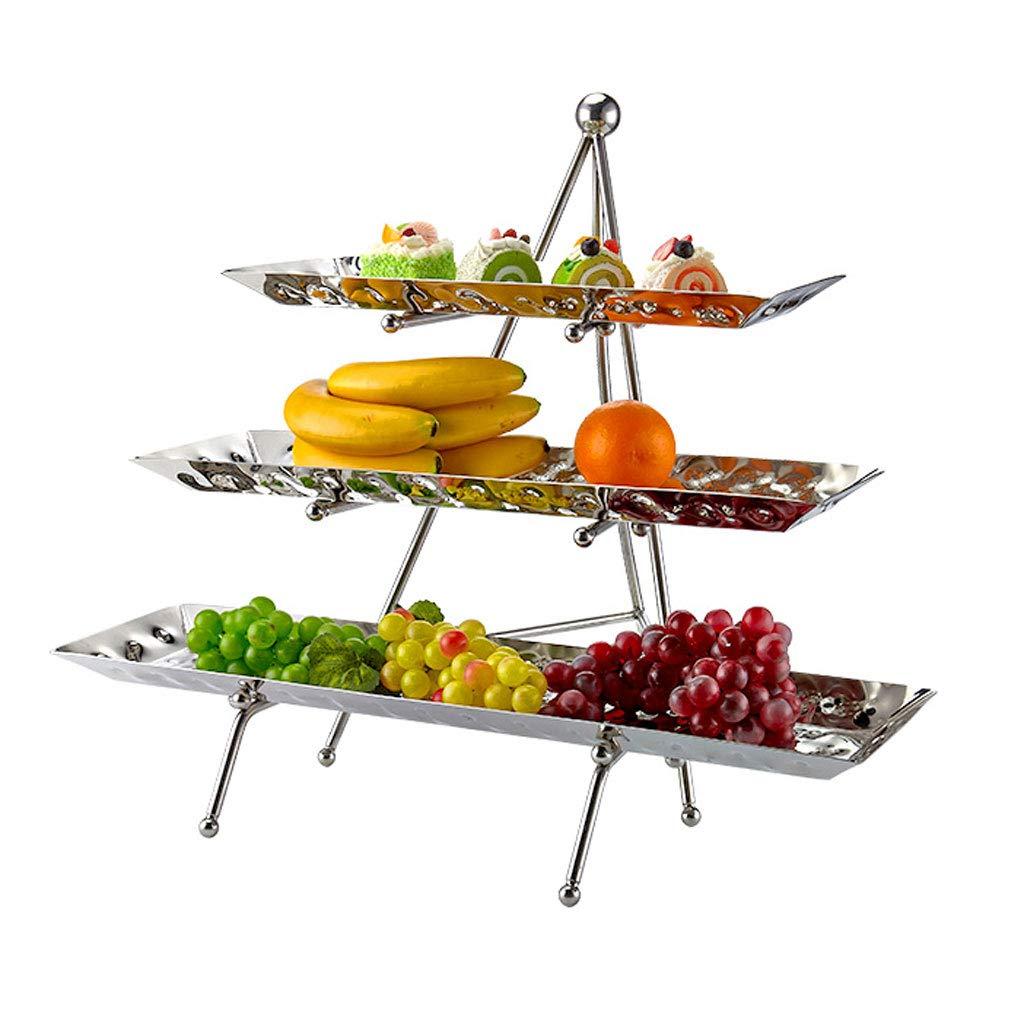 ファッション多層ステンレス鋼フルーツ皿プレートバスケットフルーツラックケーキパンキッチンリビングルームの装飾 (色 : シルバー しるば゜)  シルバー しるば゜ B07MX4NKHK