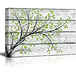 "wall26 Canvas Prints Wall Art - Tree Branch with Green Leaves on Vintage Wood Background Rustic Home Decoration - 16"" x 24"""