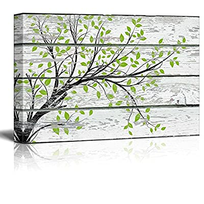 Wonderful Technique, Tree Branch with Green Leaves on Vintage Wood Background Rustic, With a Professional Touch
