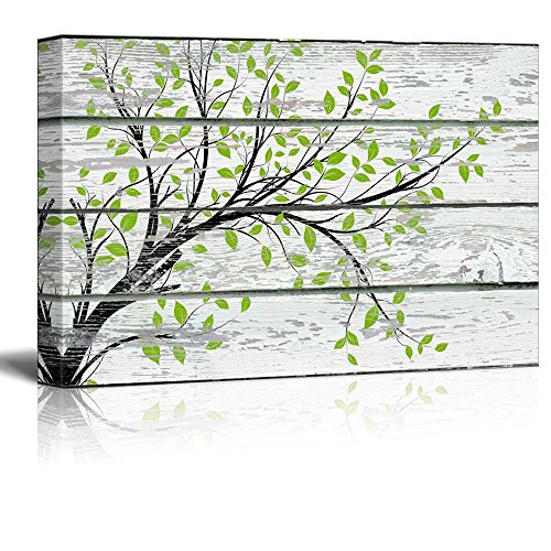 wall26 Canvas Prints Wall Art - Tree Branch with Green Leaves on Vintage Wood Background Rustic Home Decoration - 24