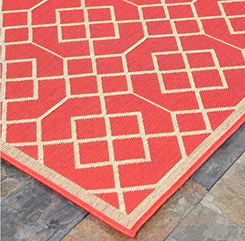 "4'5"" x7' (135x215cm) Geometric Blocks, Sunset Orange Indoor & Outdoor Area Rug, Easy to Clean, UV protected & Fade Resistant Furnishmyplace 1115"