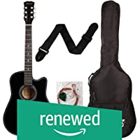 (Renewed) Juarez Acoustic Guitar, 38 Inch Cutaway, 038C With Bag, Strings, Pick And Strap, Black