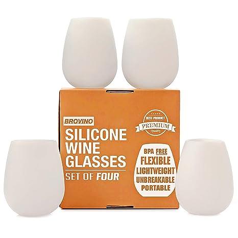 Amazon.com: Copas de vino de silicona, 4 unidades, no se ...