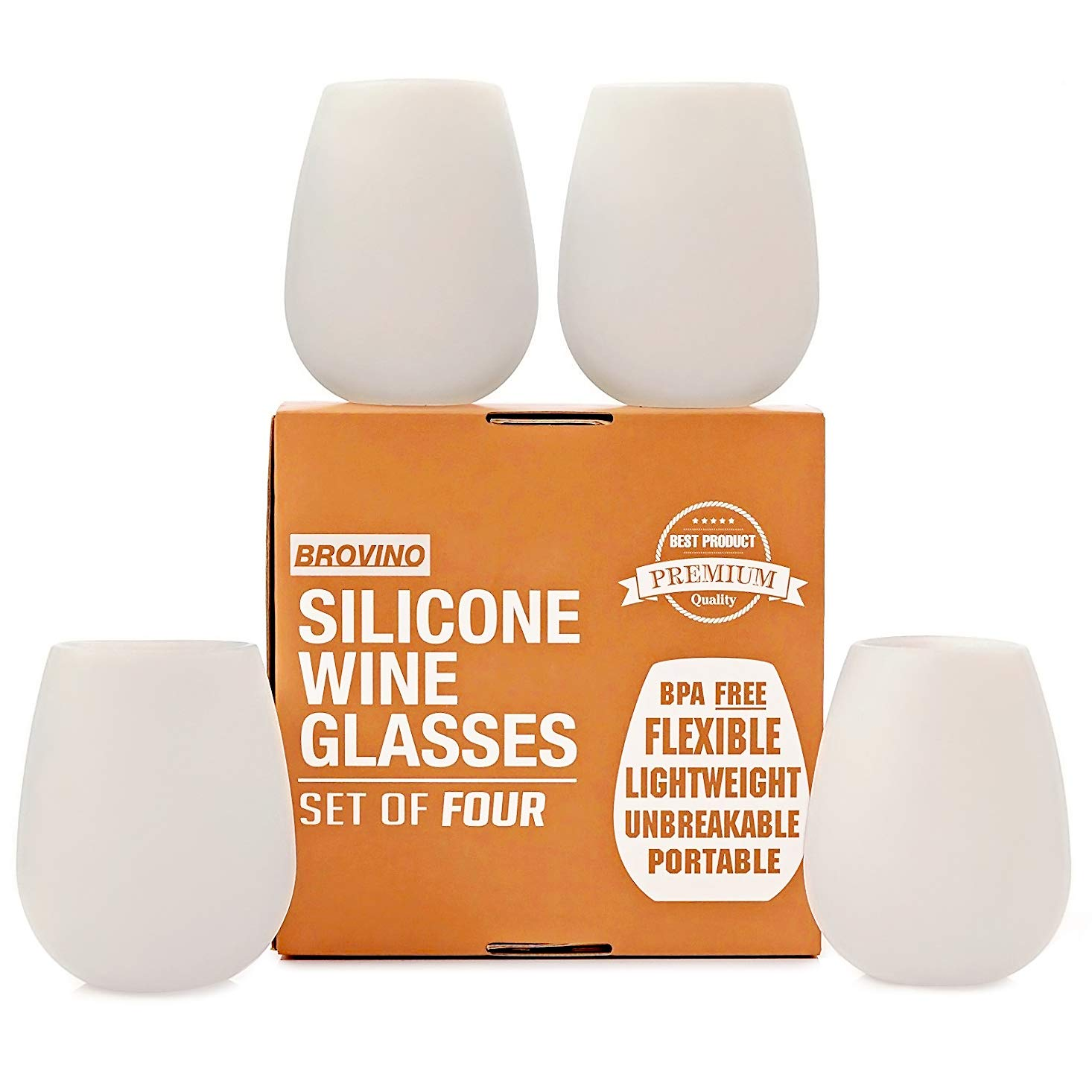 Silicone Wine Glasses - Set of 4 - Unbreakable Outdoor Rubber Wine Cups: 14 oz, Clear Silicone. 100% Dishwasher Safe - Shatterproof Glass for Travel, Outdoor, Picnic, Pool, Boat, Camping by Brovino (Image #1)