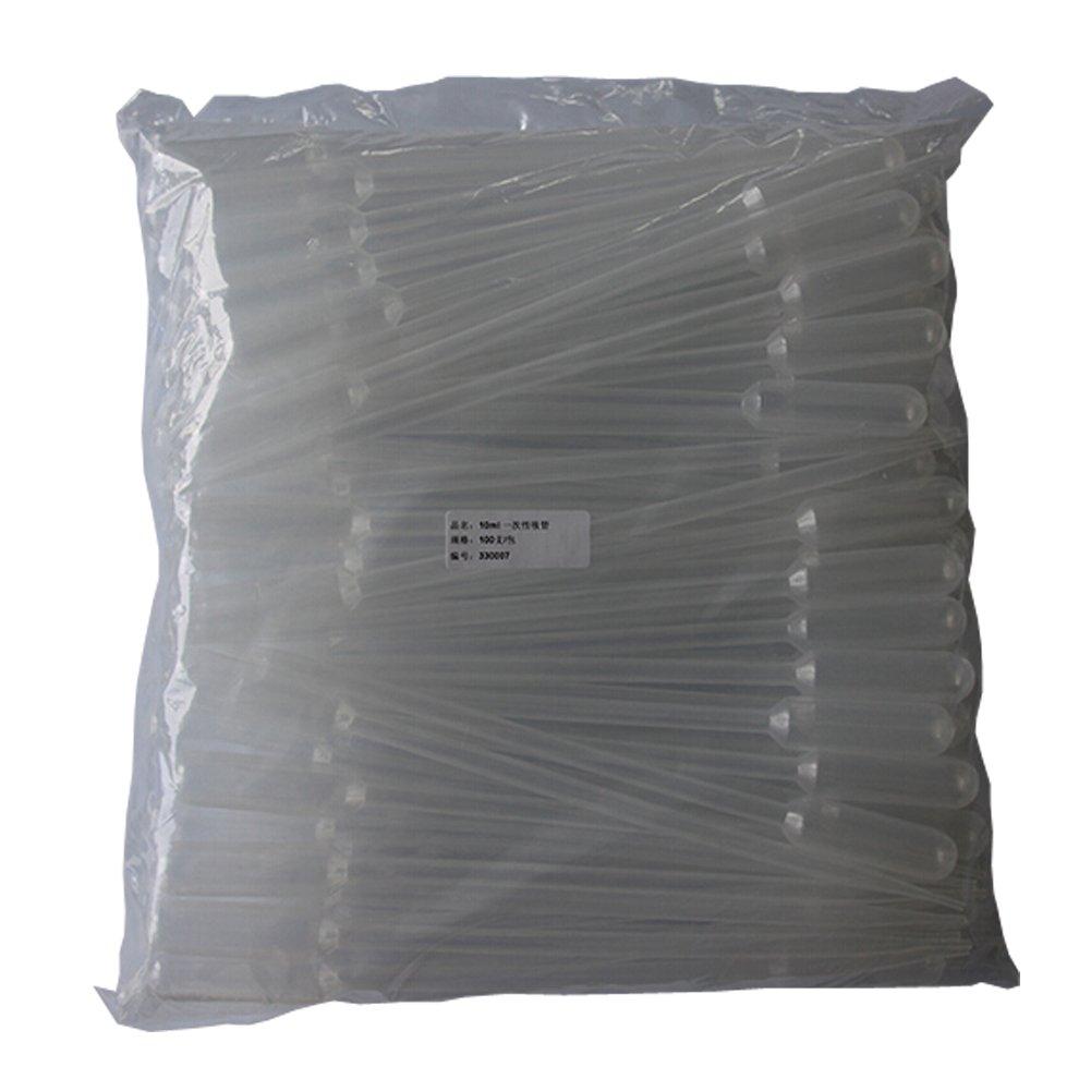 BIPEE 10ml Plastic Pipette Graduated Transparent Dropper 295mm Length 100pcs