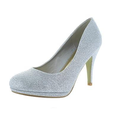 6d206b283758ae best-boots Damen Glitzer Abend Hochzeit Schuhe Pumps High Heels Trend in  Silber 740 Größe