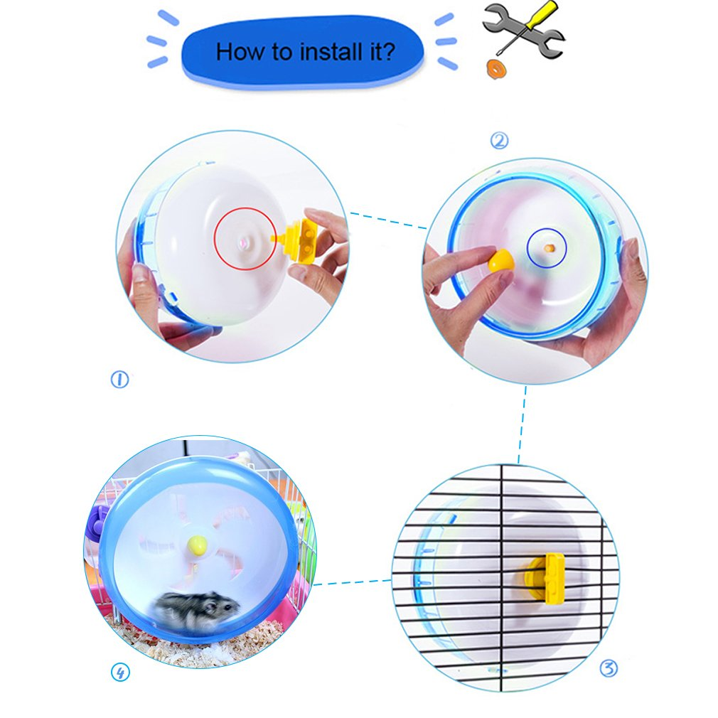 "Fun Spinner Wheel for Small Pets -- Durable and Comfortable Spinning Exercise Toy from SunGrow - As Quiet as Library - Convenient 7"" Diameter Perfect for Hamsters, Gerbils, Mice and Guinea Pigs"