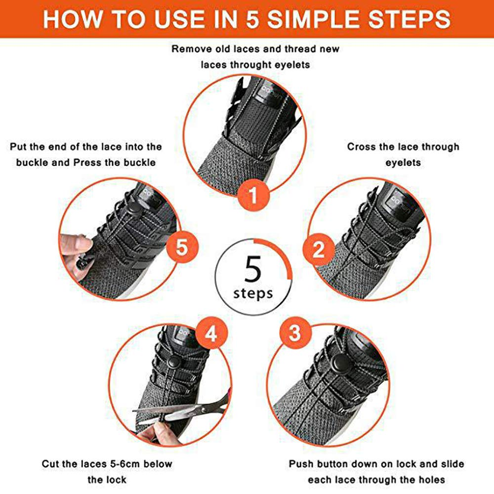 No tie Shoelaces with Lock Device Elastic Shoe Laces for Kids and Adults Adjustable Tieless Rubber Shoe Laces Strings for Sneakers Boots Board and Casual Shoes