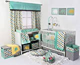Bacati Elephants Unisex 10 Piece Nursery-in-A-Bag Crib Bedding Set with Bumper Pad, 100 Percent Cotton Percale for US Standard Cribs, Mint/Yellow/Grey