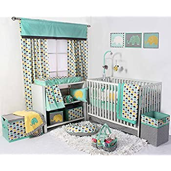 Image of Bacati Elephants Unisex 10 Piece Nursery-in-A-Bag Crib Bedding Set with Bumper Pad, 100 Percent Cotton Percale for US Standard Cribs, Mint/Yellow/Grey