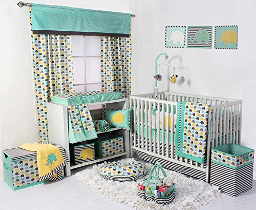 sex 10 Piece Nursery-in-A-Bag Crib Bedding Set with Bumper Pad, 100 Percent Cotton Percale for US Standard Cribs, Mint/Yellow/Grey ()