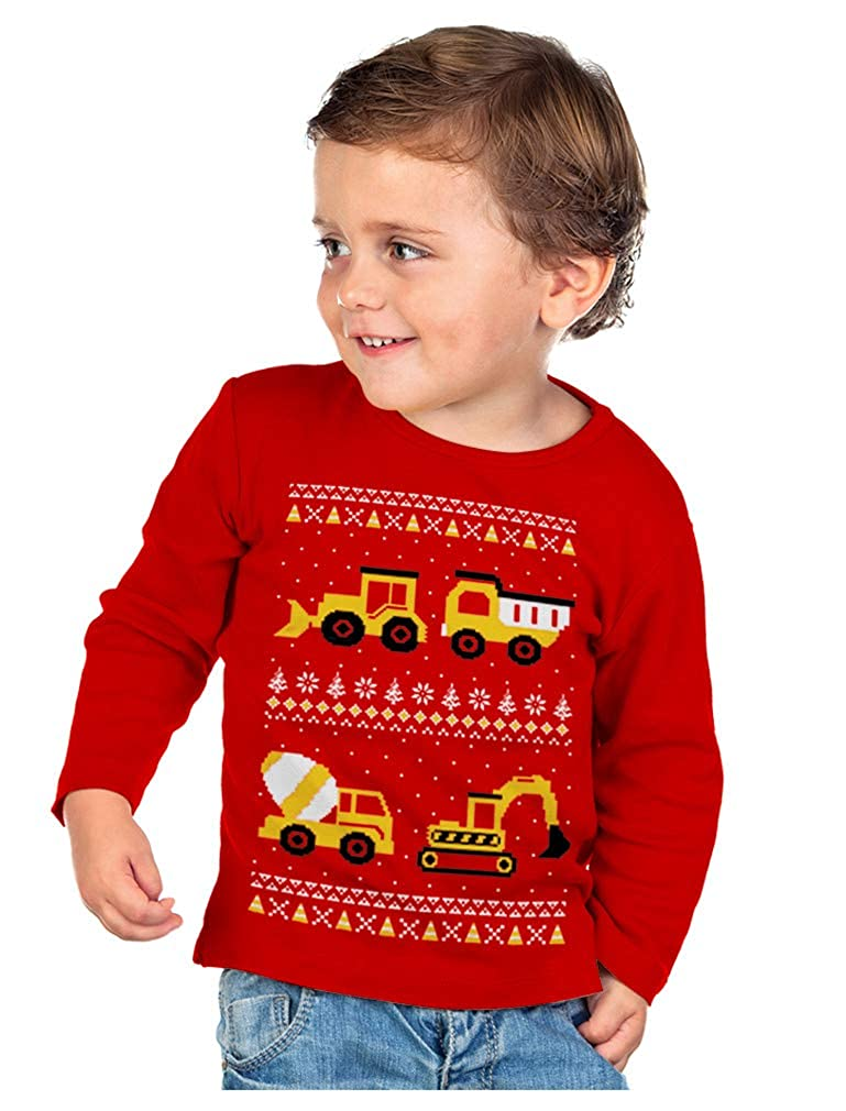 Tractors Bulldozers Ugly Christmas Sweater Style Boys Kid Long Sleeve T-Shirt