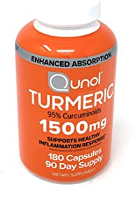 Turmeric Root Extract Curcumin Softgels, Qunol with Enhanced Absorption 1500mg, Joint Support, Dietary Supplement, 95% Curcuminoids, 180 Count,90 Day Supply