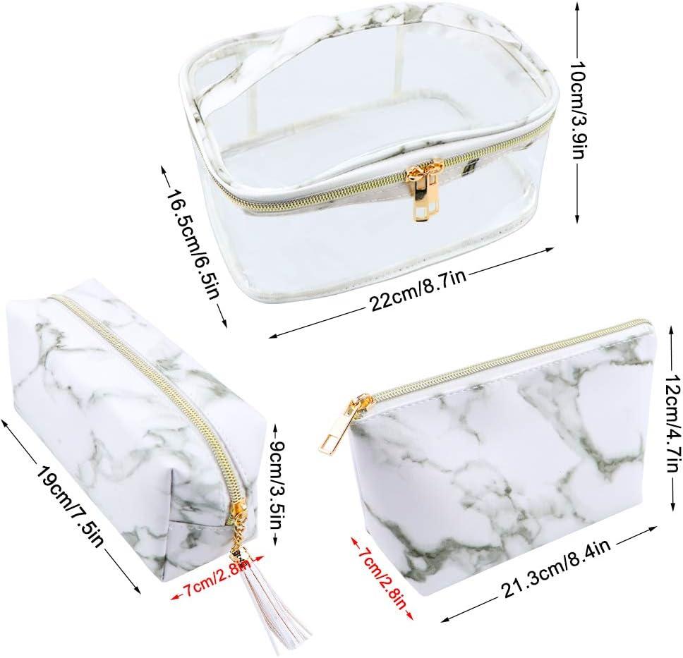 Meetory 3 Pi/èces en Marbre Cosm/étique Trousse De Maquillage De Toilette Pochette De Rangement De Brosse De Voyage avec Poign/ée De Stockage pour Les Femmes//Filles//Dame