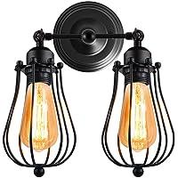 STOEX Aplique Doble-Cabeza de Hierro Edison Estilo Rústica Vintage Metal Industrial Lámpara de Pared Creativo Iluminación Ajustable de Loft Bar Hotel Comedor(Negro)