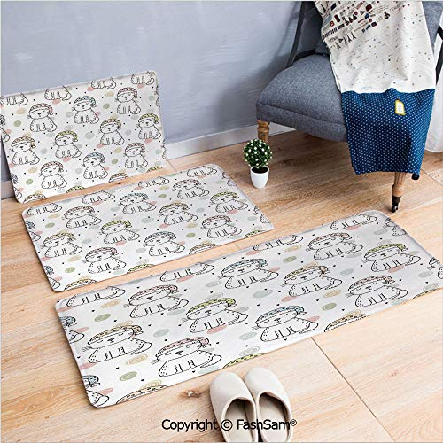FashSam 3 Piece Non Slip Flannel Door Mat Sleepy Cat Colorful Hats Night Time Good Night Cute Animals Indoor Carpet for Bath Kitchen(W15.7xL23.6 by W19.6xL31.5 by W19.6xL59) ()