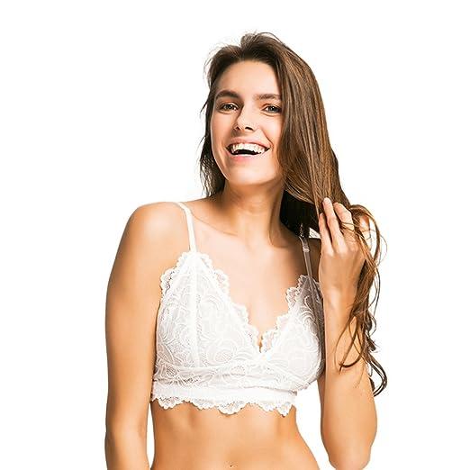 268c1ea936193 hodoyi Women Lace Mesh Sheer Backless Spaghetti Strap Hollow Out Bra Set(S