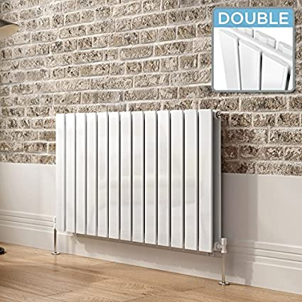 iBathUK 600 x 600 mm White Column Designer Radiator Horizontal Double Flat Panel