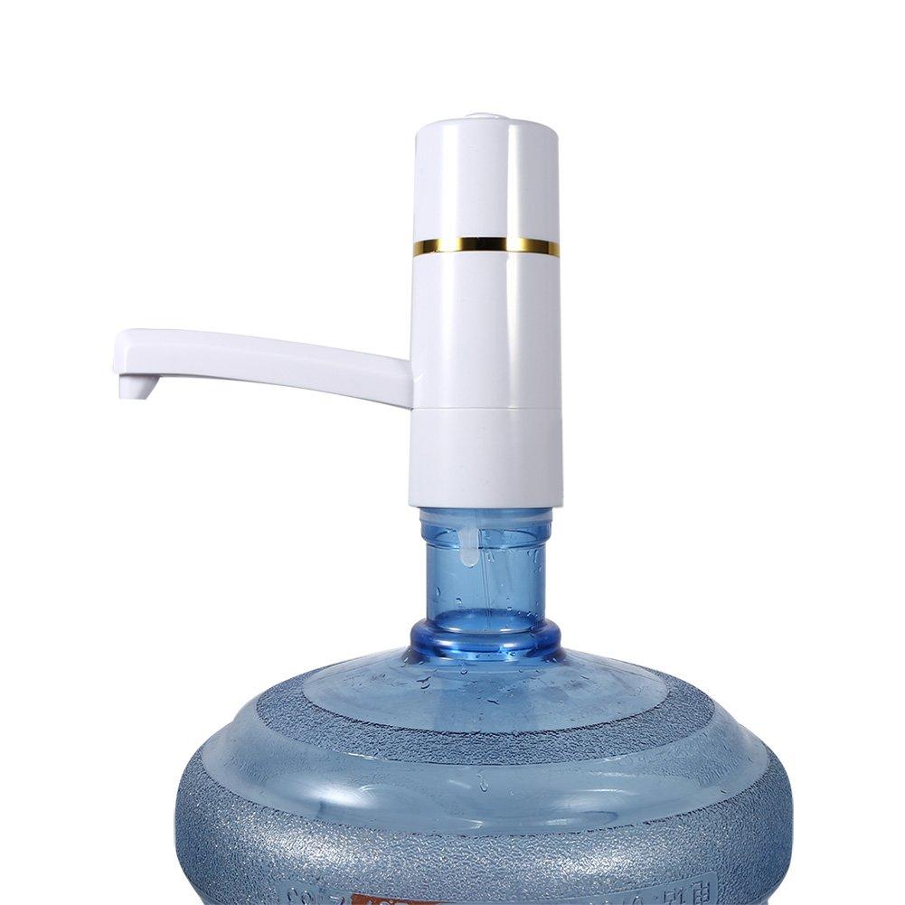 Pompe Eau sans fil Électrique Automatique Pompe Distributeur De Bouteille Pompe Dispositif Portable USB pour Maison Bureau extérieur 1.5L/min (Couleur : Blanc) Yosoo
