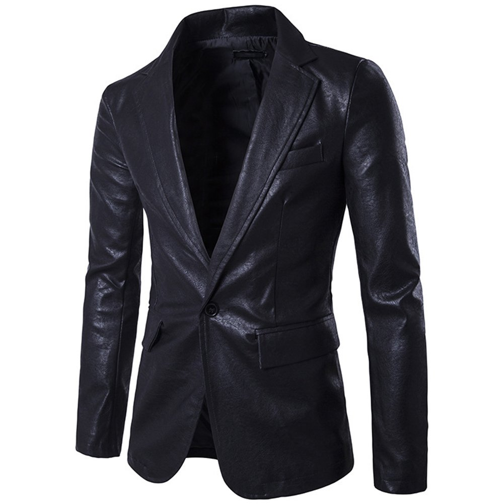 LOCOMO Men Synthetic Leather One Button Blazer Suit Coat FMJ004BLKXXL