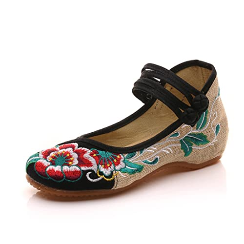 finest selection b6a43 dd34a Scarpe Jane Jane Flats Canvas Embroideried Hibiscus Scarpe ...