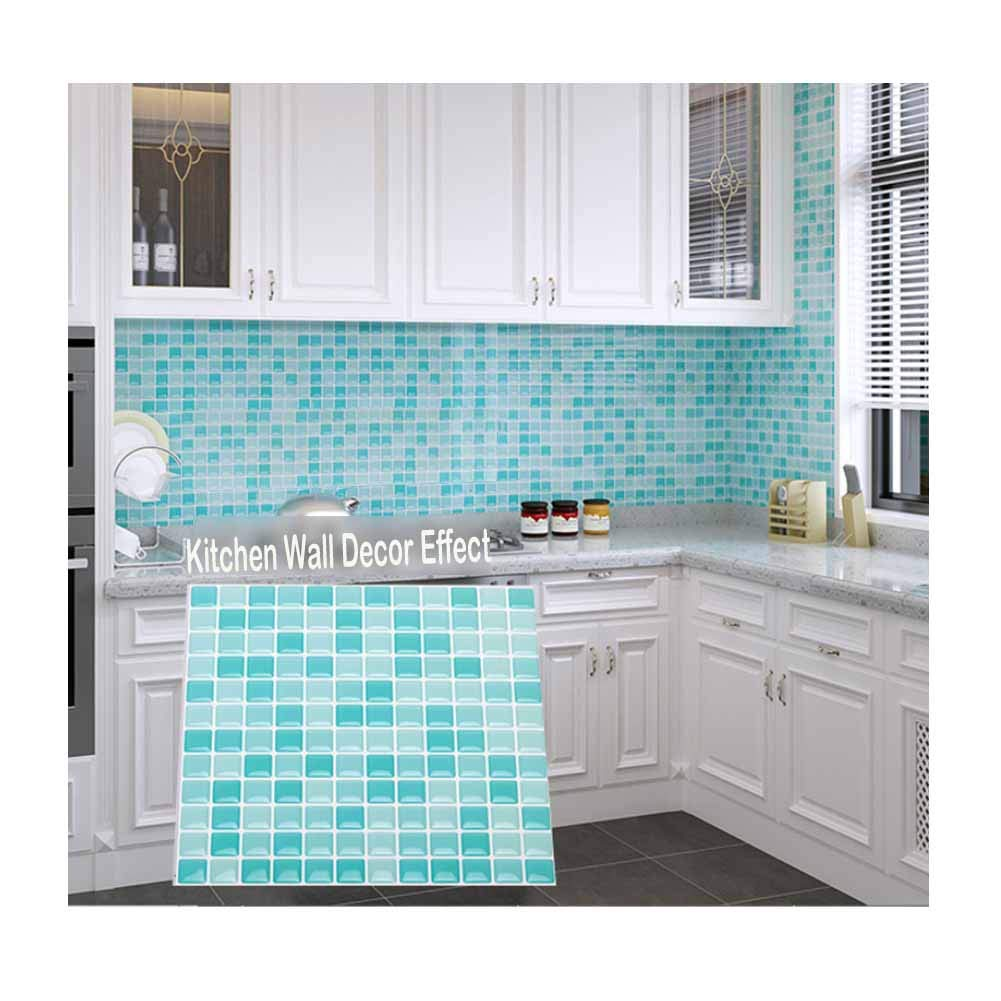 Kitchen Backsplash Smart Tiles Self Adhesive Tiles Peel and Stick 3D Wall Tile Anti Mold Anti Oil PET Wall Decor Backsplash Panels for Kitchen Bathroom White/Light Green/Turquoise Color(10 Tiles) by POPPAP (Image #6)