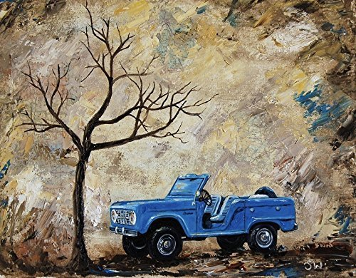 1960's Blue Ford Bronco, 8x10 artist signed print, classic car, vintage, 1966, men, man, present, gift