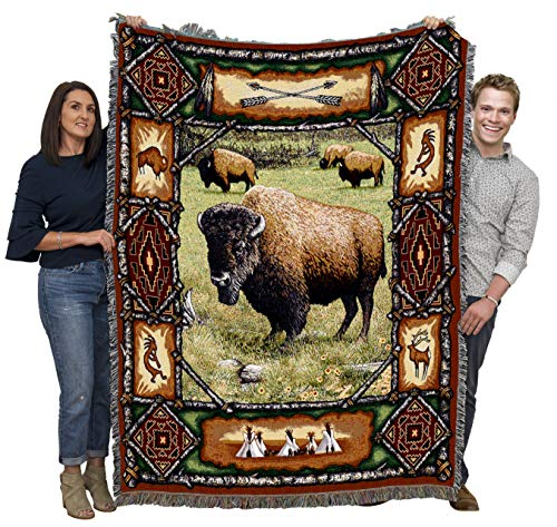 Pure Country Weavers Buffalo Lodge Cabin Hunting Woven Blanket Large Soft Comforting Lodge Décor Throw 100% Cotton Made in The USA 72x54