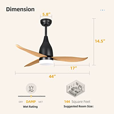 Buy Yitahome Black Ceiling Fan With Light And Remote Modern Light Fan With 3 Color Led 4 Timing 3 Level Speeds Wet Rated Ceiling Fanlight For Patios Bedroom Living Room 44 Inch Online In Poland