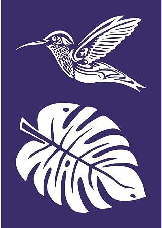 Rayher 45088000 Pochoir Colibri Din A5 1 Pochoir Adhesif Et 1 Spatule Ideal Pour Imprimer De Jolis Motifs Decoratifs Sur Divers Supports Bleu Amazon Fr Cuisine Maison