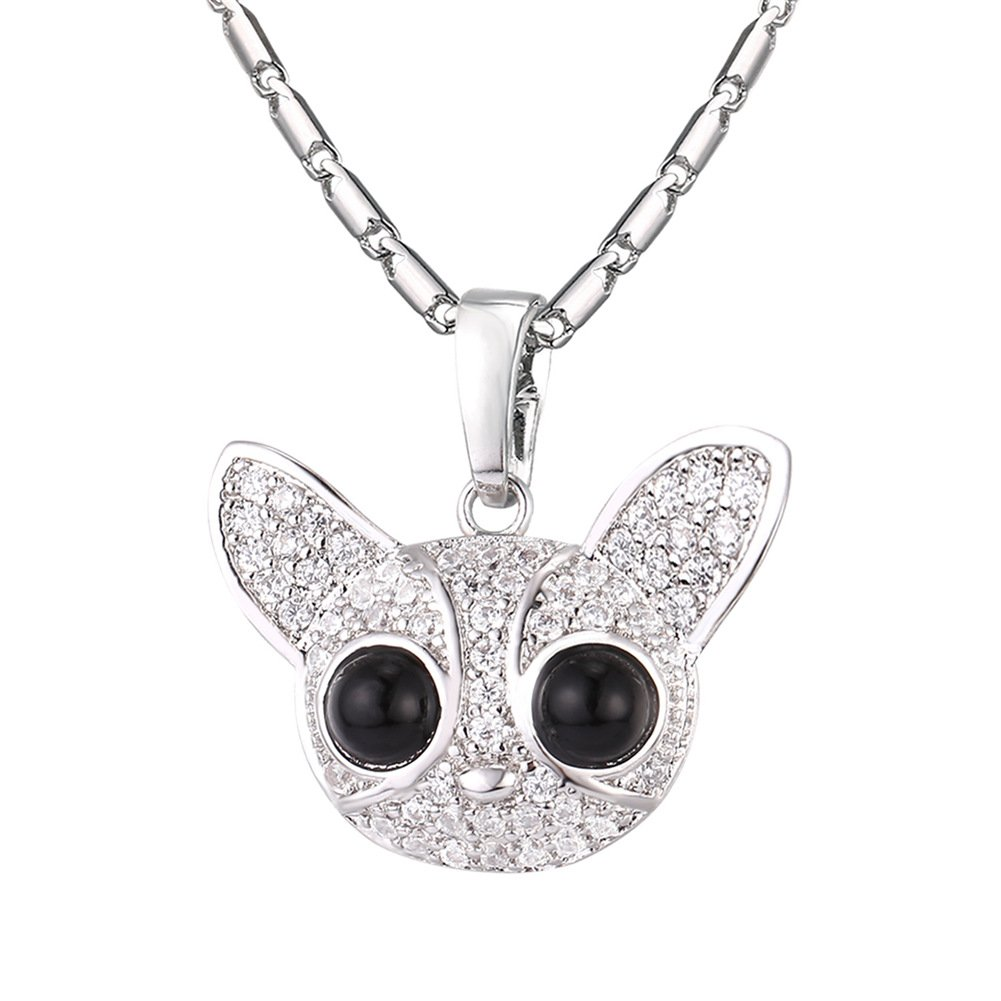 Cubic Zriconia Chihuahua Dog Pendant Charm Necklace Fashion Animal Jewelry U7 Jewelry U7 P2584B