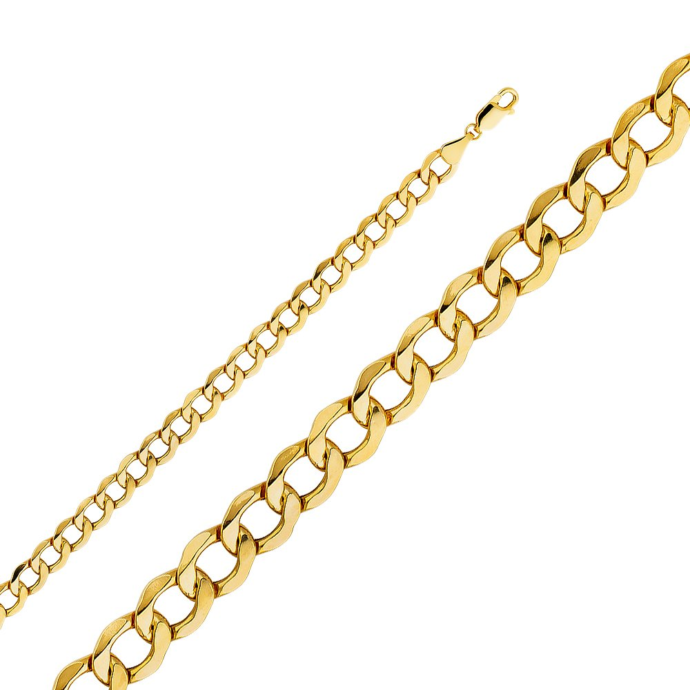 Sonia Jewels 14k Yellow Gold Hollow Cuban Bevel Chain Necklace With Lobster Claw Clasp