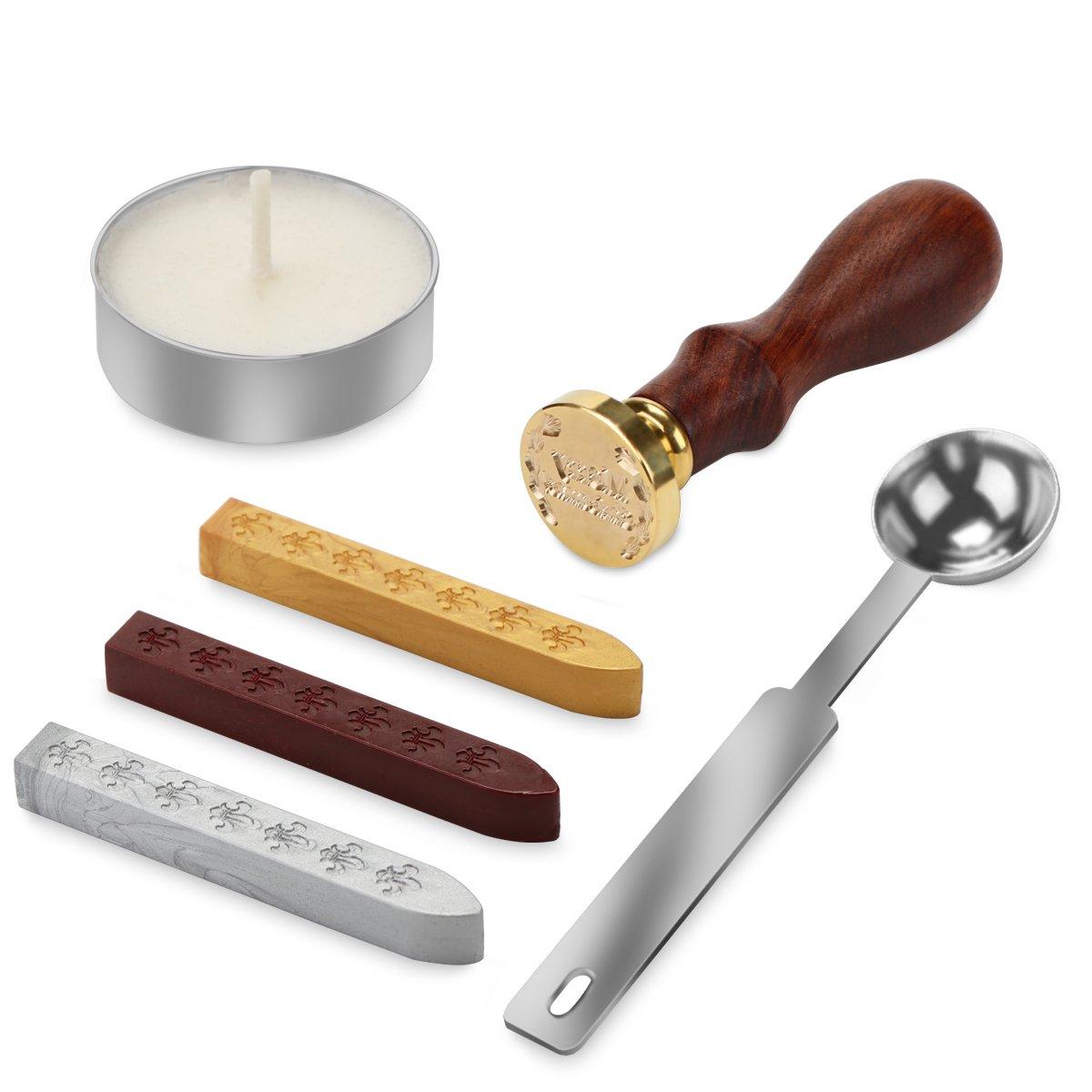 TiooDre Retro Christmas Wax Seal Stamp Kit Wax Stick Spoon Gift Box Set