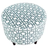 MJL Furniture Designs Sophia Collection Fabric Upholstered Round Footrest Ottoman with Round Espresso Finished Legs, Gigi Series, Saffron Gray