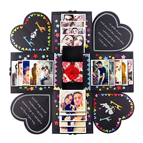 PartyTalk Creative Explosion Box DIY Handmade Photo Album Scrapbooking Gift Box for Wedding Engagement Anniversary Graduation Birthday Gifts, Black (Birthday Gift For Girlfriend Of 1 Year)