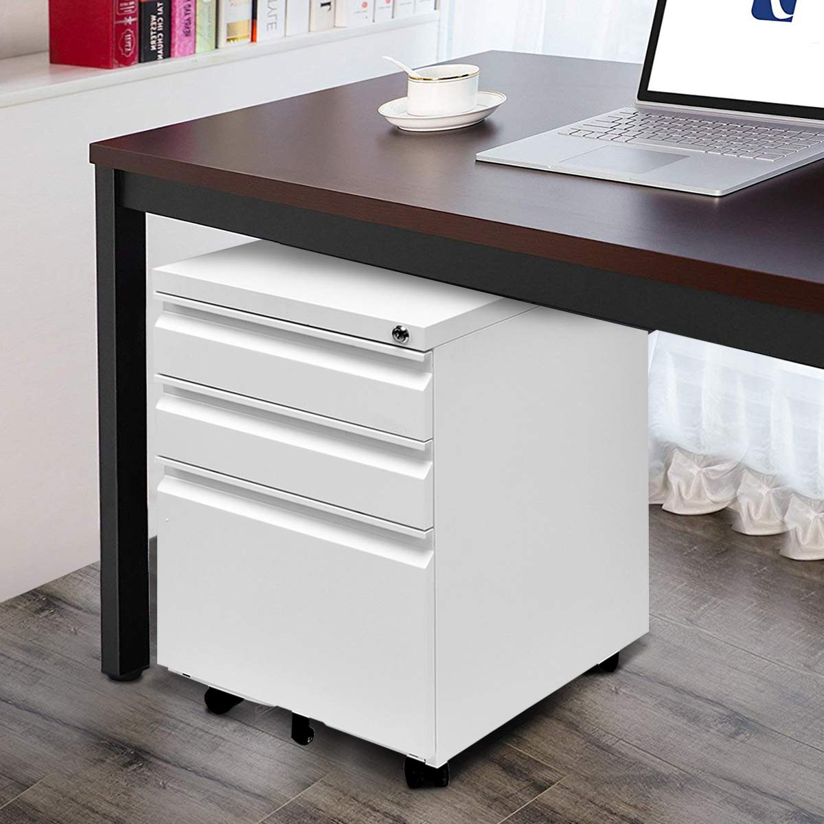 Giantex Rolling Mobile File W/3 Lockable Drawers and Pedestal for Office Study Room Home Steel Storage Cabinet (White) by Giantex (Image #1)